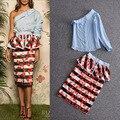 Primavera verão 2017 nova moda sexy um ombro mulheres partes superiores das meninas + babados bonito folha imprimir pencil skirt duas peças conjunto terno