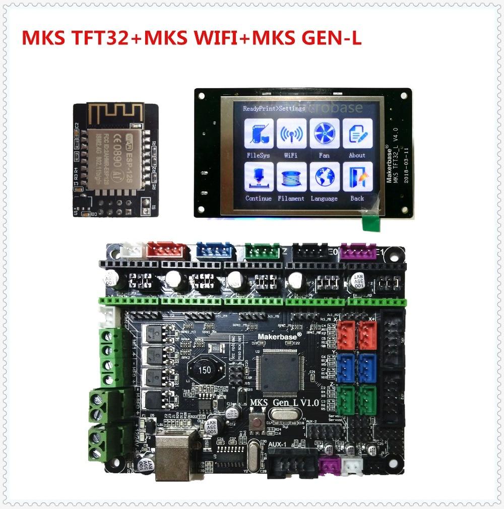 MKS GEN L + MKS TFT32 V4.0 táctil LCD display + MKS módulo WIFI barato 3D impresora incorporada up partes