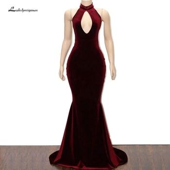 Lakshmigown Cheap Prom Dresses Long Burgundy 2019 Robe Arabic Women Long Party Dress Little Mermaid Velvet Evening Gowns Halter