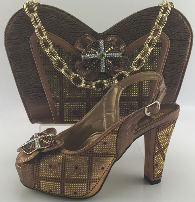 ФОТО Brown ME6601 African shoe and bag set high heel Italian shoe with matching bag,ladies matching shoe and bag Italy design.