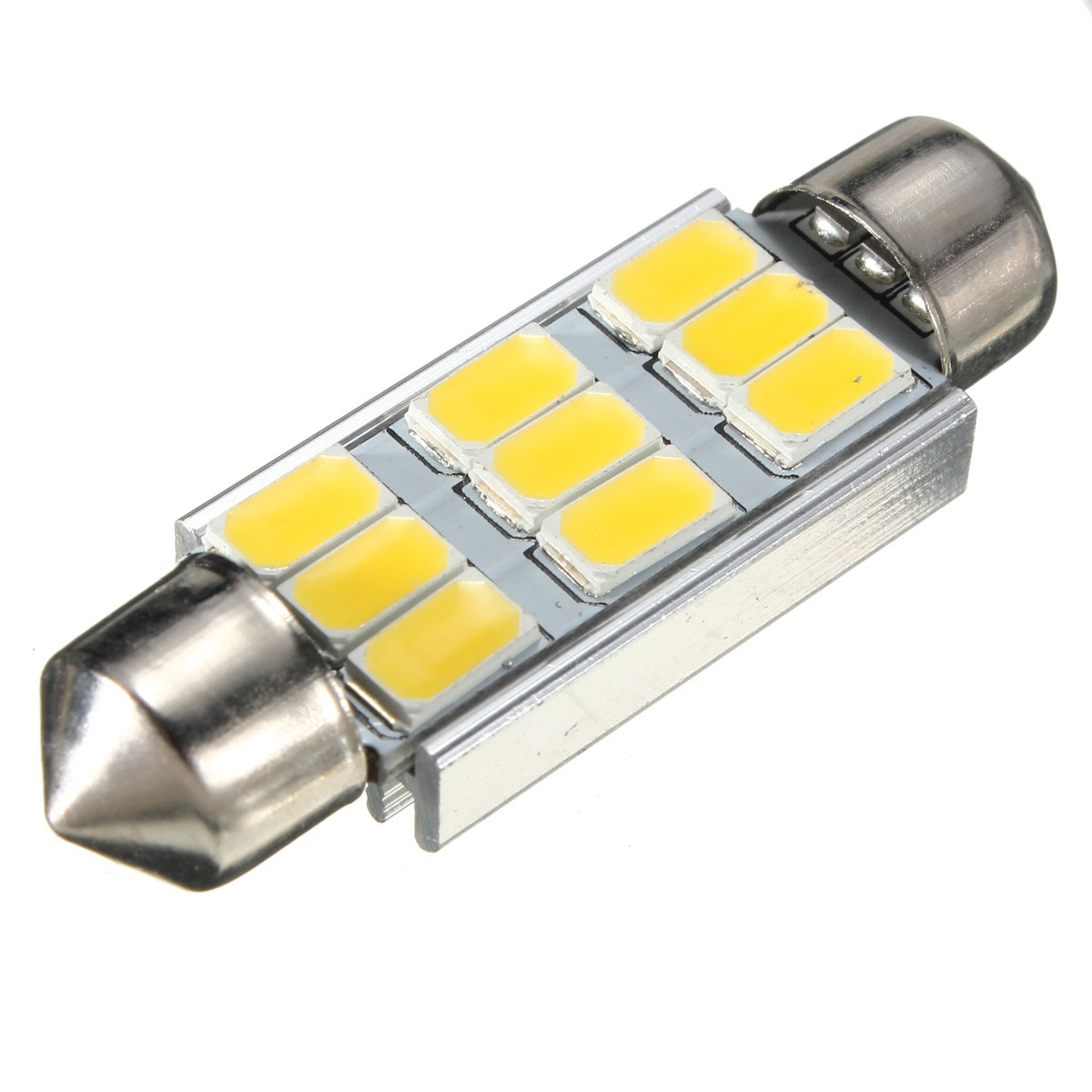 42mm 5630 SMD 9 LED 180LM 3.5W Canbus Error Free Car Auto LED Bulbs Interior Light Dome Festoon Bulb Warm White 3000K AC 12V New cyan soil bay 1x canbus error free white t10 5630 6 smd wedge led light door dome bulb w5w 194 168 921 interior lamp