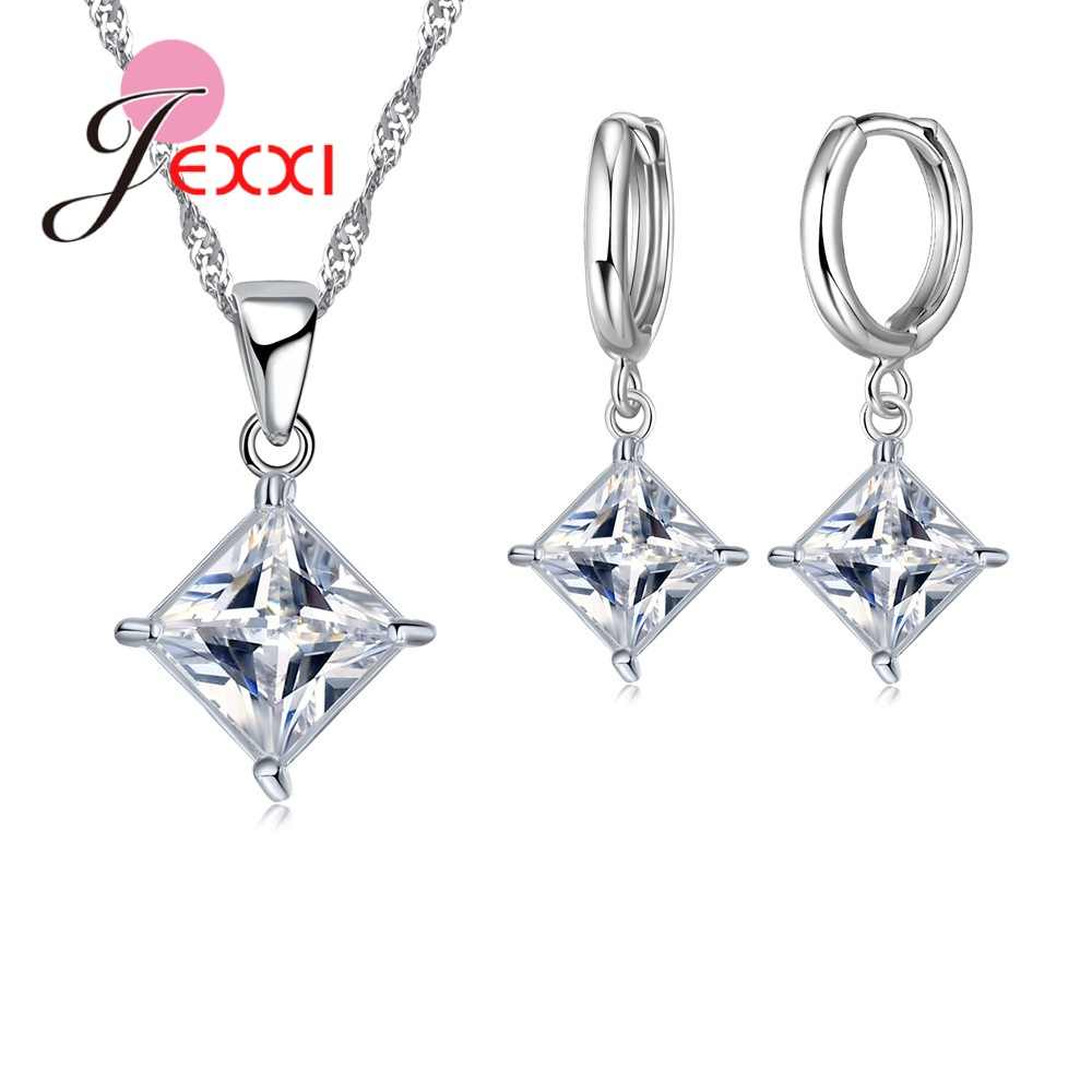 New Fashion Square Shape Sparkling Necklace Earrings Sets Elegant Simple Style 925 Sterling Silver For Girls Party Wedding Gift