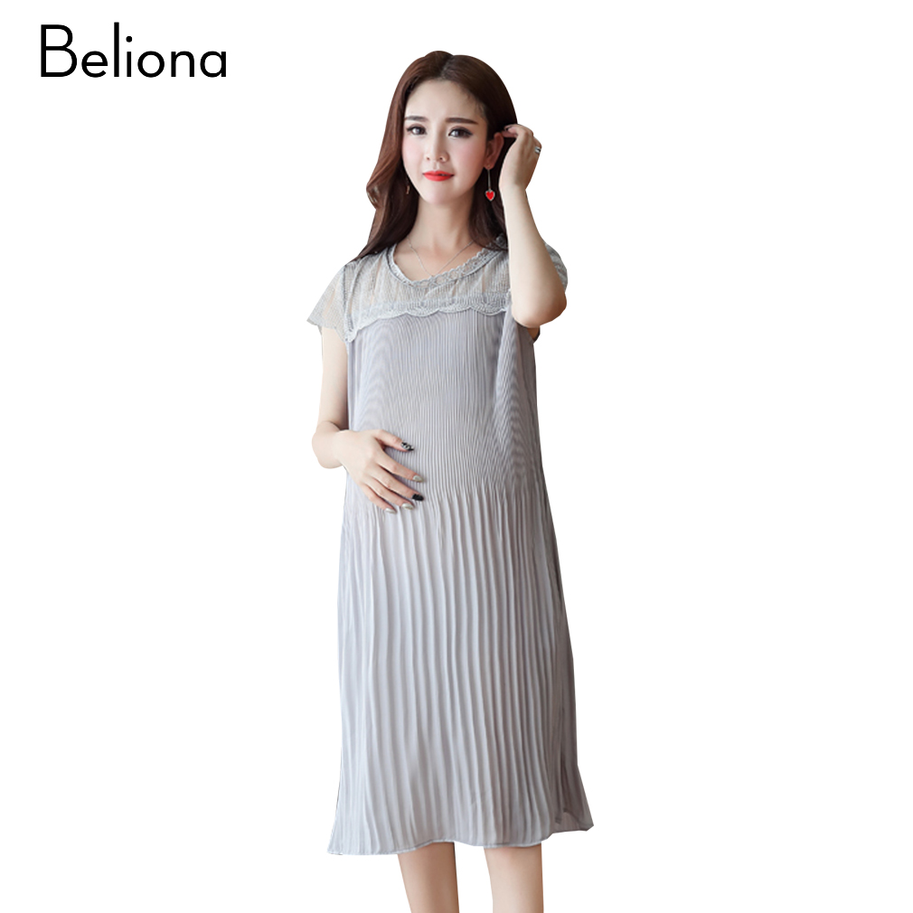 Lace Stitching Chiffon Pleated Maternity Dress Summer Elegant Maternity Clothes for Pregnant Women 2017 Pregnancy Clothing