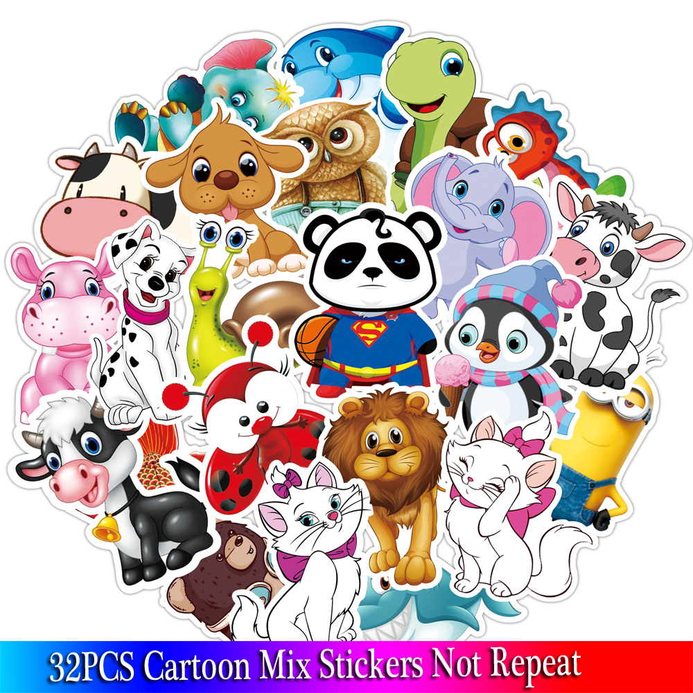 32PCS Cartoon Animal Stickers Kids Toy Sticker For DIY Luggage Laptop Skateboard Motorcycle Bike Bedroom Sticker