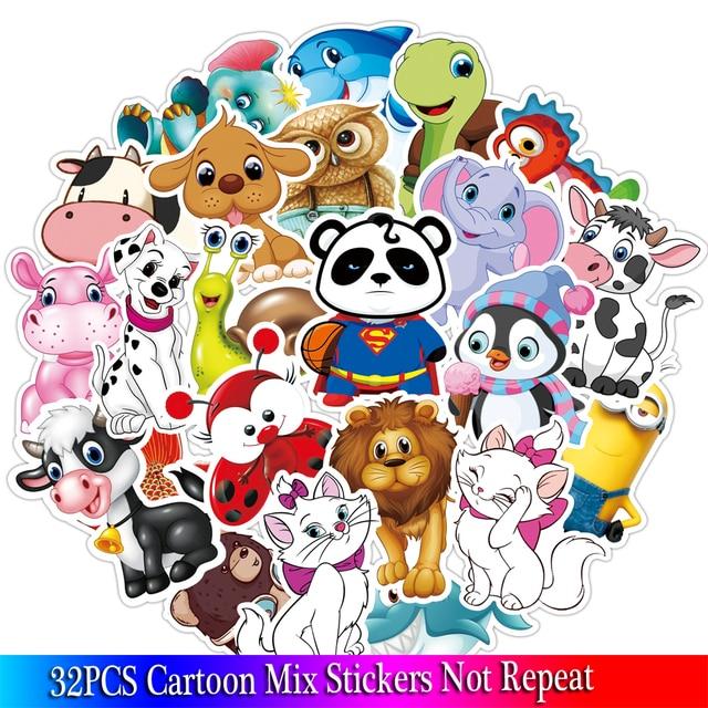 32PCS Cartoon Animal Stickers Kids Toy Sticker For DIY Luggage Laptop Skateboard Motorcycle Bike Bedroom Sticker