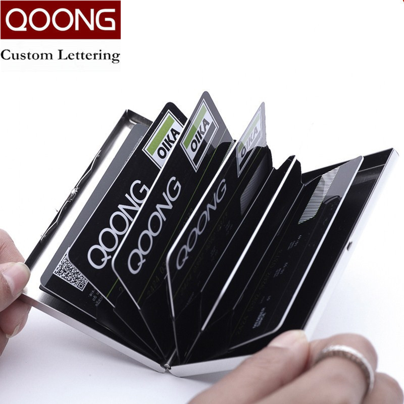 QOONG Stainless Steel Waterproof Business Men Women Credit Card Holder ID Card Case Rfid Travel Metal Card Wallet Cardholder in Card ID Holders from Luggage Bags