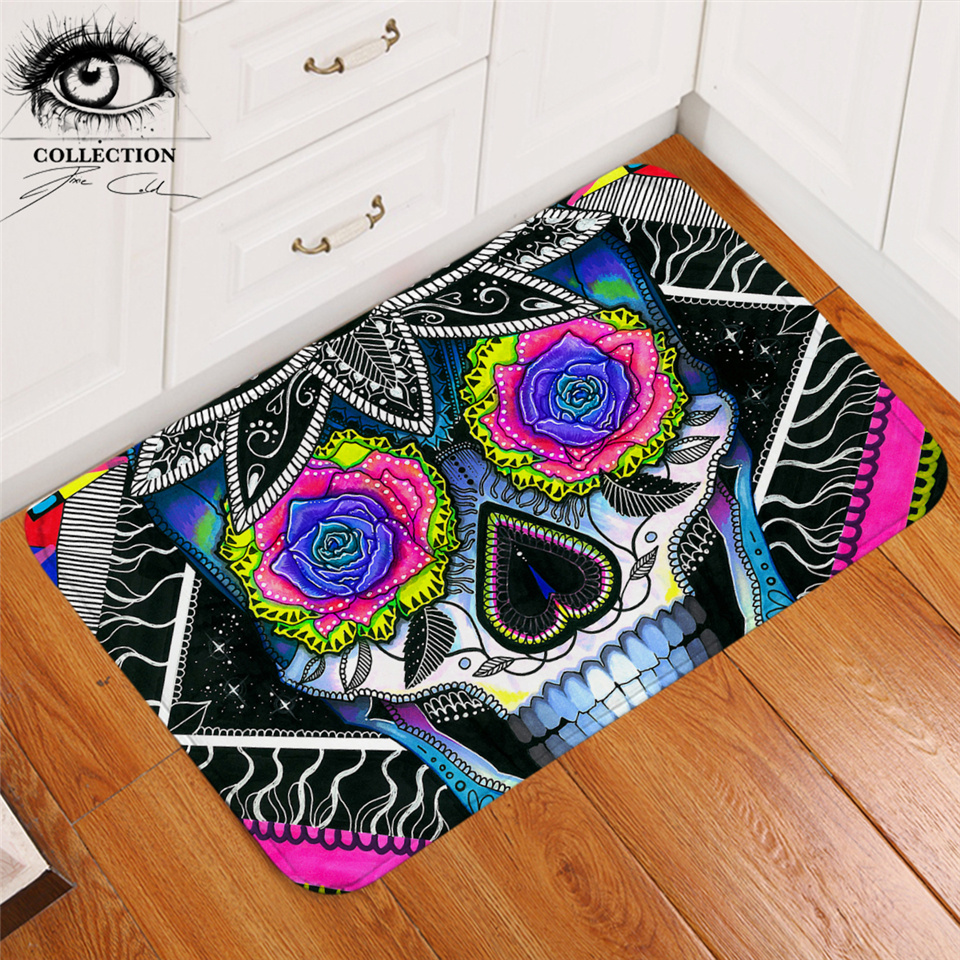 Sugar Skull By Pixie Cold Art Area Rug Floral Bathroom Carpet Colorful Rose Doormat Gothic Floor Mat For Bedroom Outdoor 40x60cm