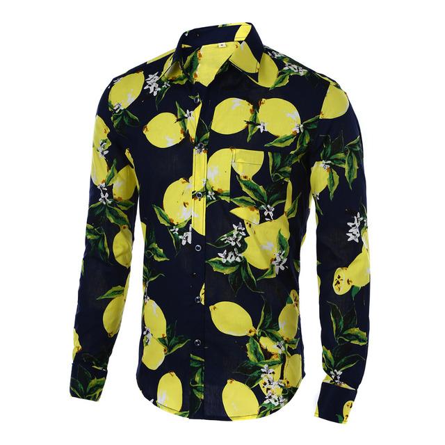 Camisas para hombre Caliente 2016 Moda de Manga Larga de Impresión Floral Camisa de Los Hombres Camisas Slim Fit Camisa Ocasional de Los Hombres de Camisa Hawaiana Masculina