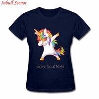 Dabbing Unicorn Women Hipster Adult Funny T Shirts Round Collar Comfort T Shirts Woman Round Collar