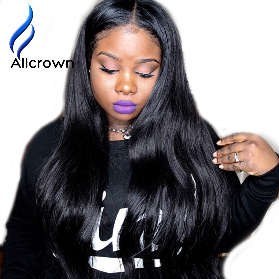 ALICROWN font b Straight b font Full Lace Human font b Hair b font Wigs With