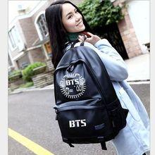Hot Korea lady backpack women font b bag b font BTS Jackson PU Schoolbag Backpacks