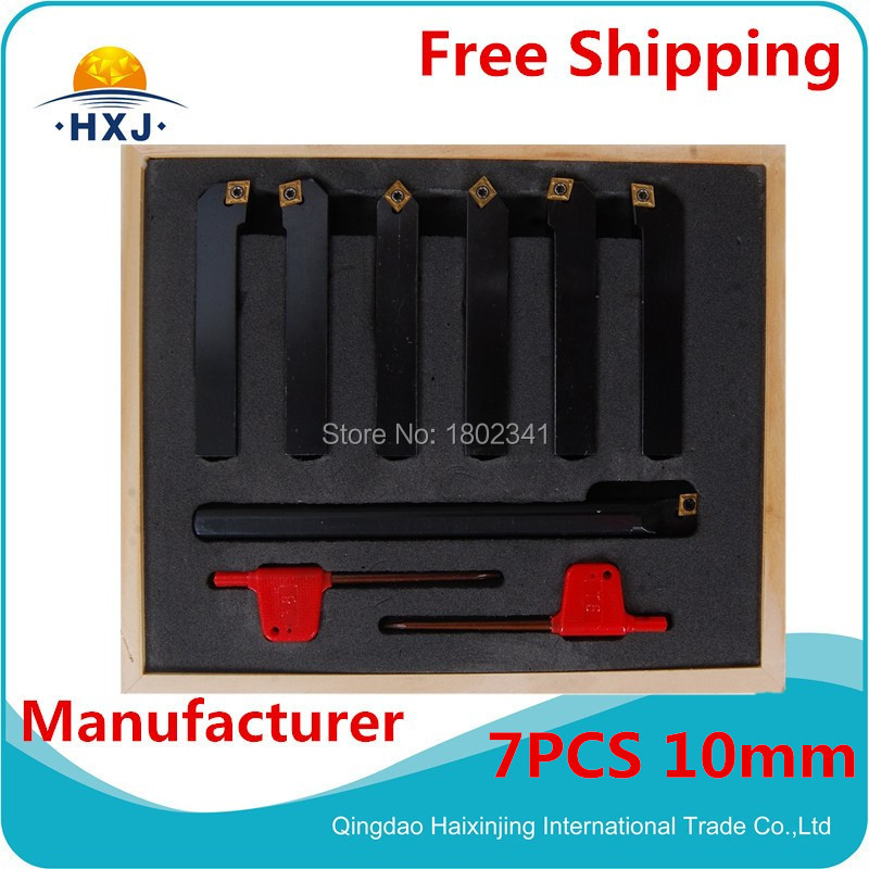 ФОТО 10mm 7pcs/set indexable lathe cutting tools set with insert for CNC machine, Tincoated, carbide turning tools set