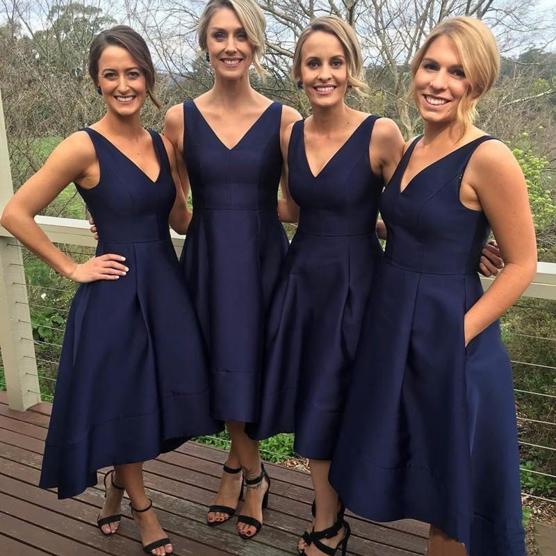 Tea Length Navy Blue   Bridesmaid     Dresses   With Pockets V-neck A-line Satin Wedding Party Gowns Elegant Short Maid Of Honor   Dresses