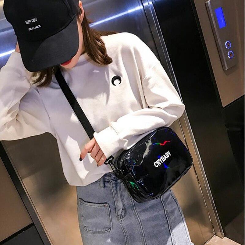 HTB1LyK5bv1H3KVjSZFHq6zKppXap Yogodlns 2019 Holographic Laser Backpack Embroidered Crybaby Letter Hologram Backpack set School Bag +shoulder bag +penbag 3pcs