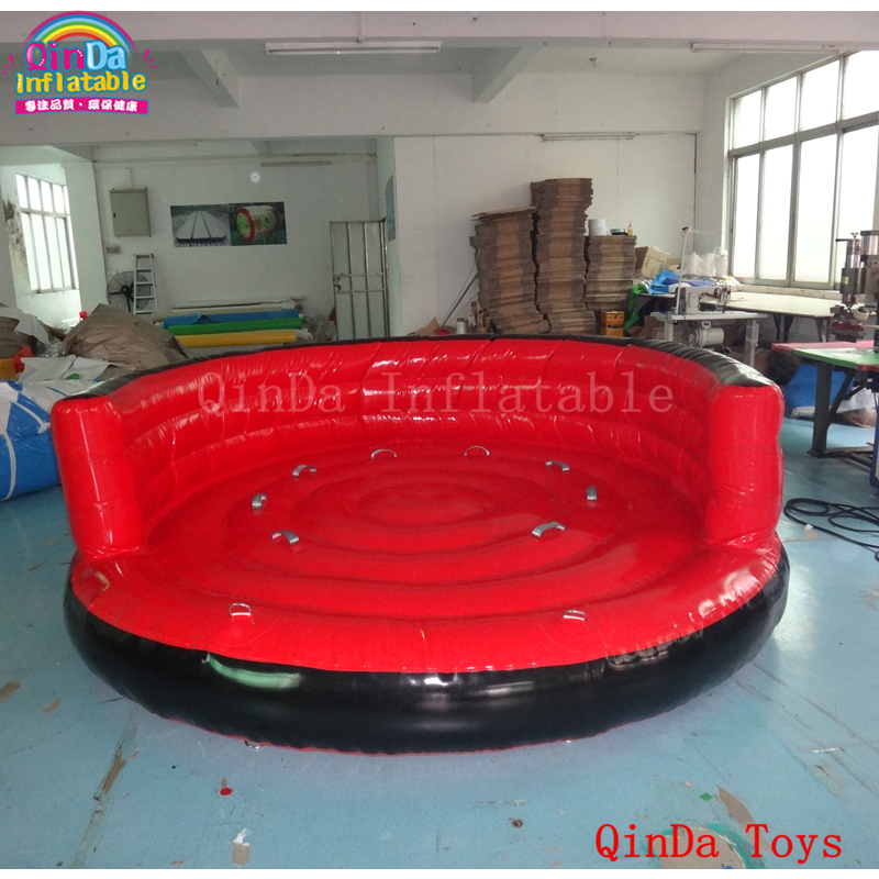 4*1m red colour  inflatable towable tube crazy UFO,flying boat inflatable water sofa for summer water park funny summer inflatable water games inflatable bounce water slide with stairs and blowers