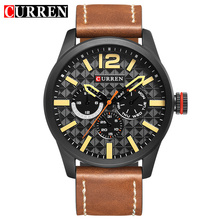 CURREN Black Quartz Watch Brown Leather Belt Week Month Display Lattice Dial Design Mens Watches Top Brand Luxury Sport Clock