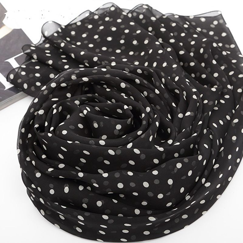 Polka Dot Print Long Silk Chiffon   Scarf   Women Spring Summer 100% Silk   Scarves     Wraps   Shawl Travel Beach Accesories Gifts