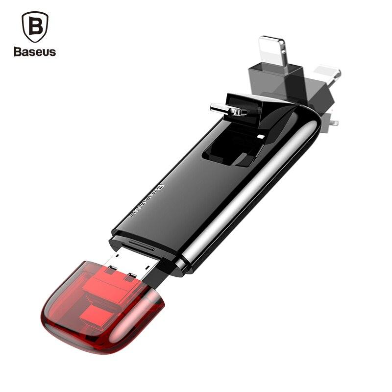 BASEUS usb флэш-накопитель OTG накопитель 32 ГБ 64 ГБ U диска Внешние запоминающие устройства для iPhone 7 6 iPad Micro usb pendrive usb memory stick