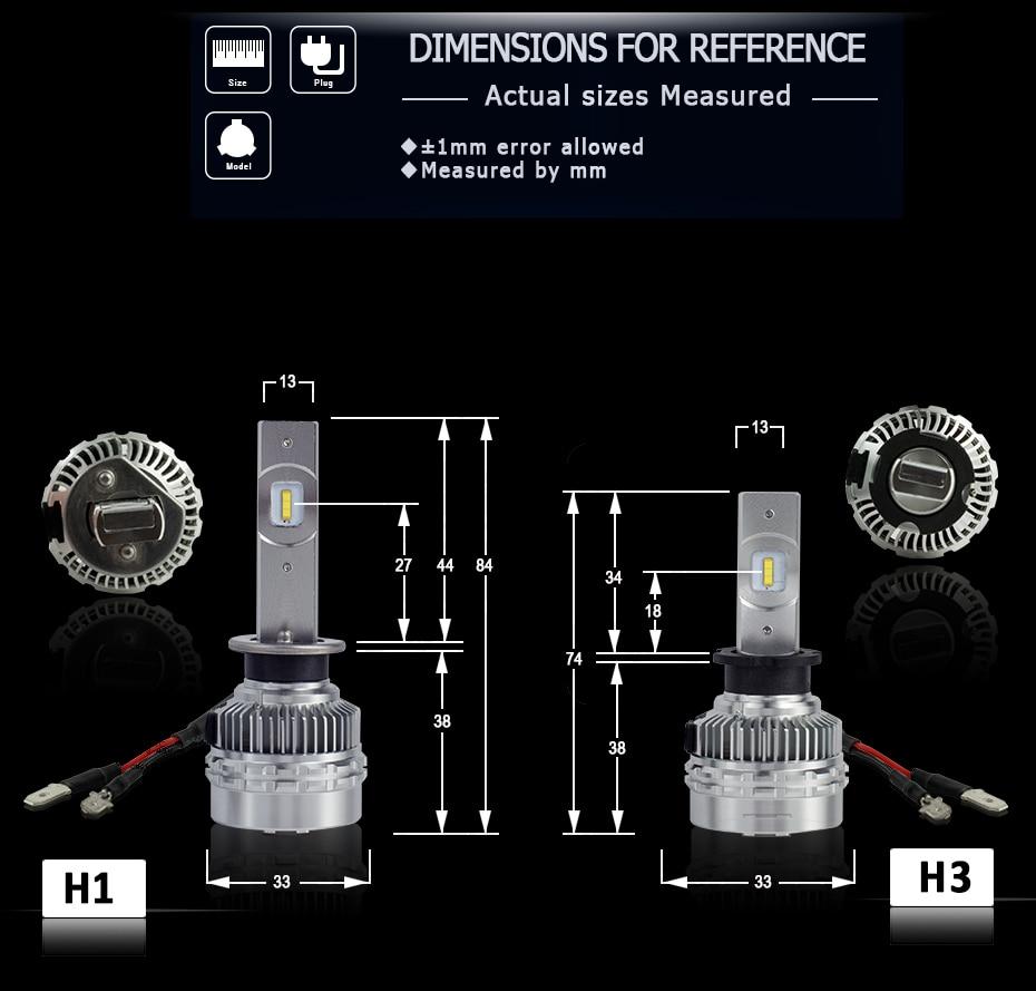 CNSUNNYLIGHT LED H4 H7 H11 H8 H1 H3 9005 9006 HB4 Car Headlight Bulbs Adjustable Beam 60W 9000LM each Pair 6000K Auto Light 12v 24v (9)