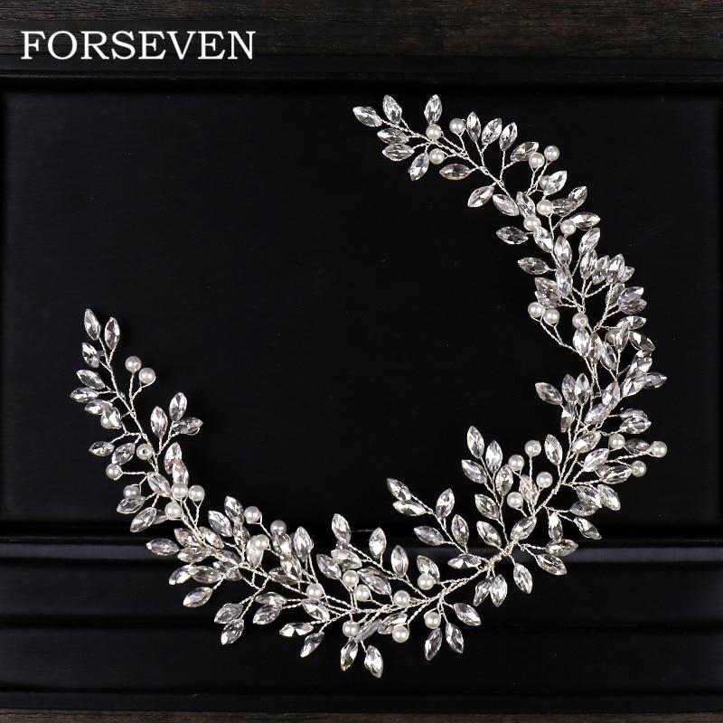 все цены на Rhinestone Crystal Headbands Fashion Jewelry Womens Accessories Bride Wedding Hair Jewelry Pearl Headbands For Women
