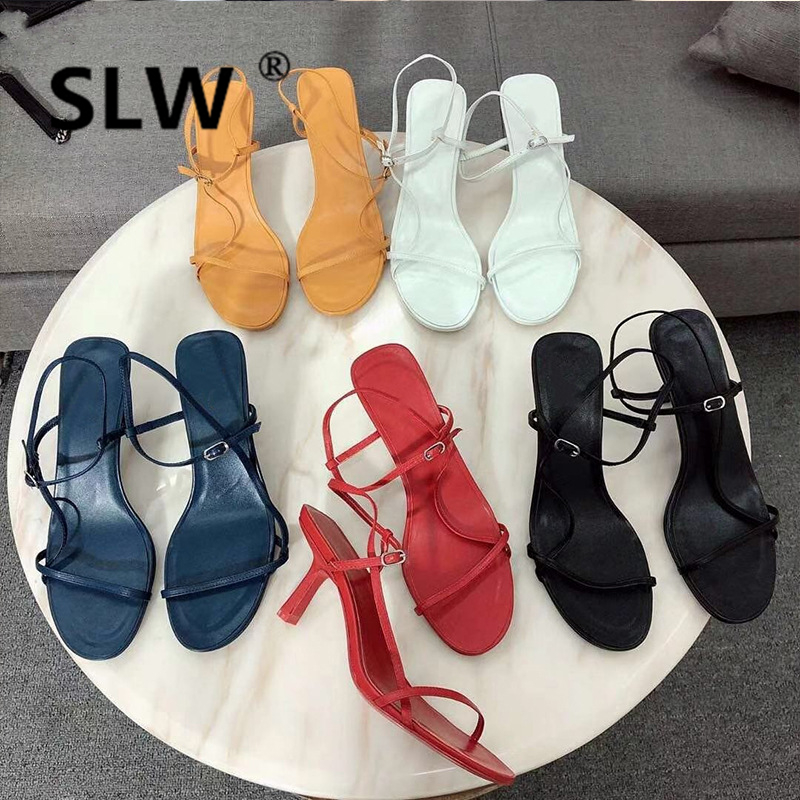 Cross-tied Soulier Femme Strappy Sandals Shoes Woman Strappy Heels Thin Heels Casual High Buckle Solid All Match Narrow Band