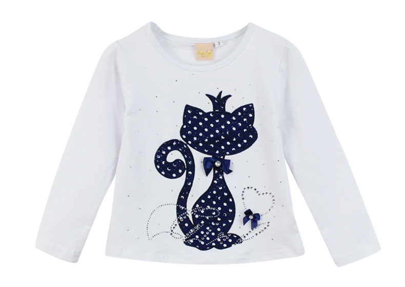 HTB1LyKePVXXXXXdXVXXq6xXFXXXt - Girl's Stylish Cute Branded Print Rhinestone Cat with Bow, Long Sleeve T-Shirt