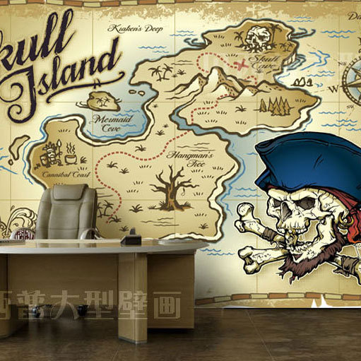 Free shipping type mural wallpaper mural pirate map for Custom size wall mural