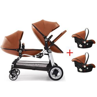 Babyfond luxo gêmeos carrinho com assento de carro 3 em 1 carrinho de criança duplo