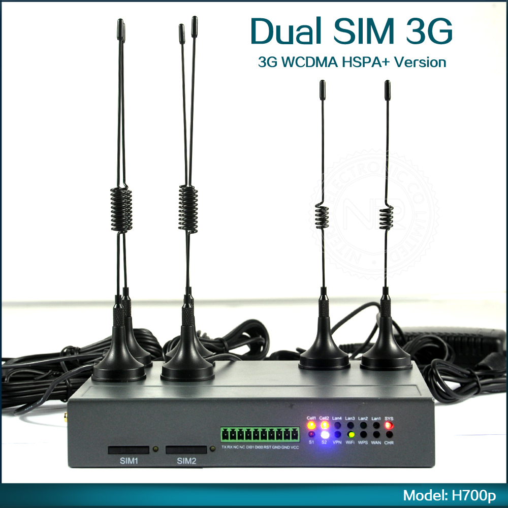 Unlocked Mobile 3G WiFi Modem Dual SIM card Wireless Router With RJ45 Port Support WCDMA HSPA