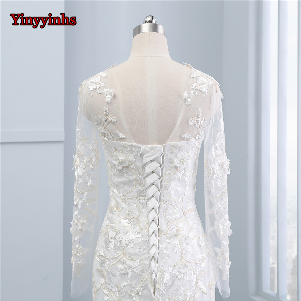 Yinyyinhs Princess Lace Beads Vintage Wedding Dresses Long Sleeve ...