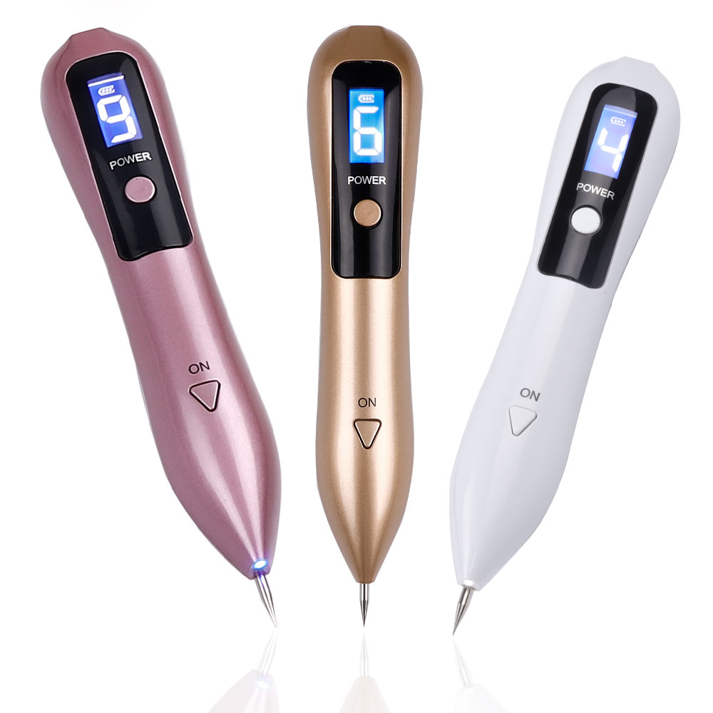 Purple laser-plasma beauty pen with the power button and small screen used to remove moles, dark spots, and the tattoo on the face