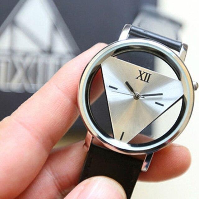 Chic Hollow Triangle Multi-rhinestones Faux Leather Band Quartz Wrist Watch Gift