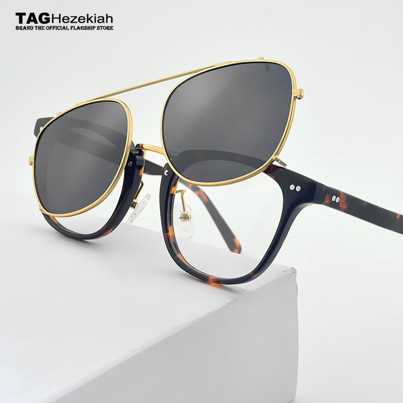 c7d5127584 2018 TAG Hezekiah brand Retro Glasses Frame Men Women With Sunglasses Clip  Eyeglasses Polarized For Male