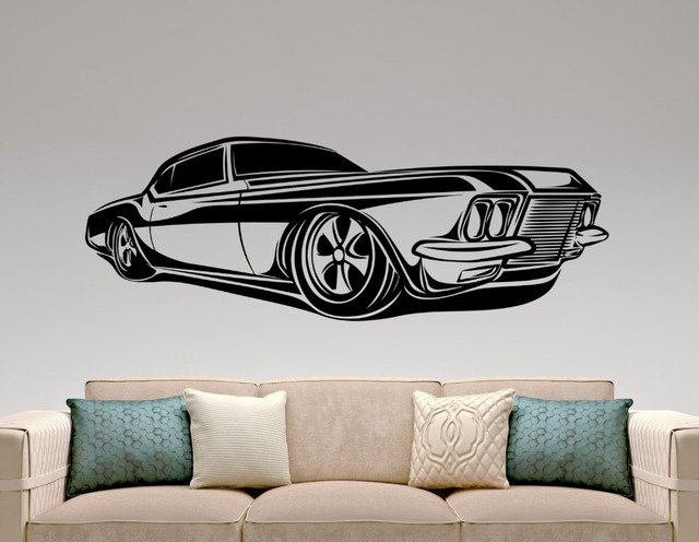 Muscle Car Sticker Classic Car Decal Home Interior Design Garage Decor Boys Room Wall Art Murals & Muscle Car Sticker Classic Car Decal Home Interior Design Garage ...