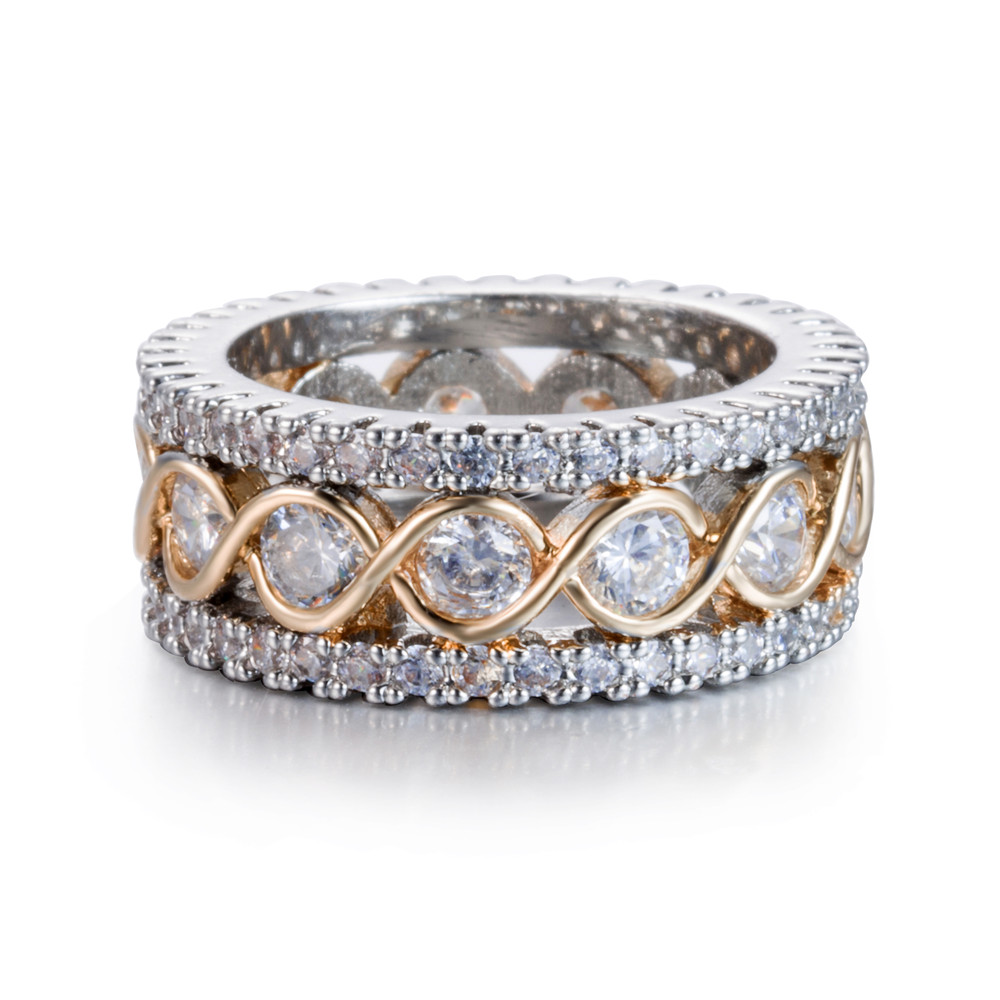 eejart Fashion Full Crystal Big Wedding Rings For Women Romantic Gold Color Ring