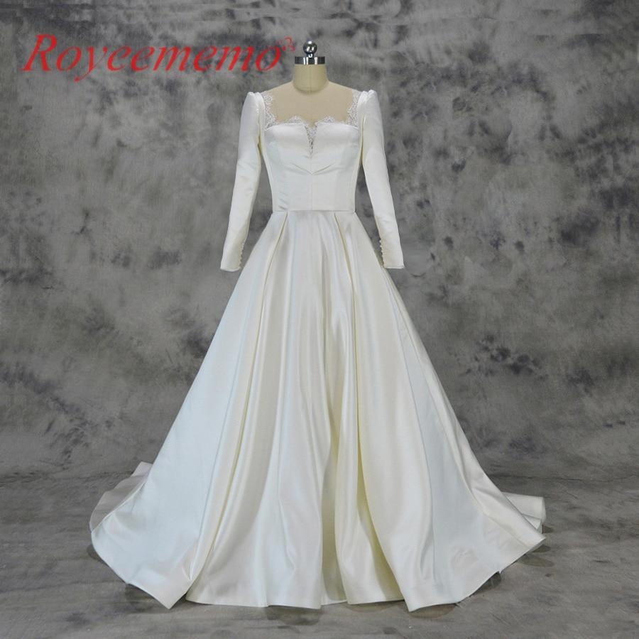Star Wedding Dress Shop: 2018 New New Style Satin Wedding Dress Long Sleeve Supper