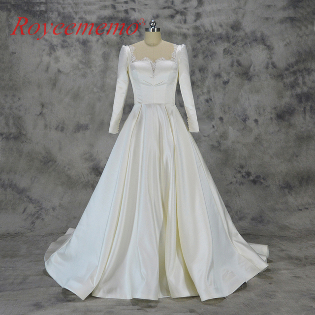 2018 new new style satin wedding dress Long sleeve supper movie star ...