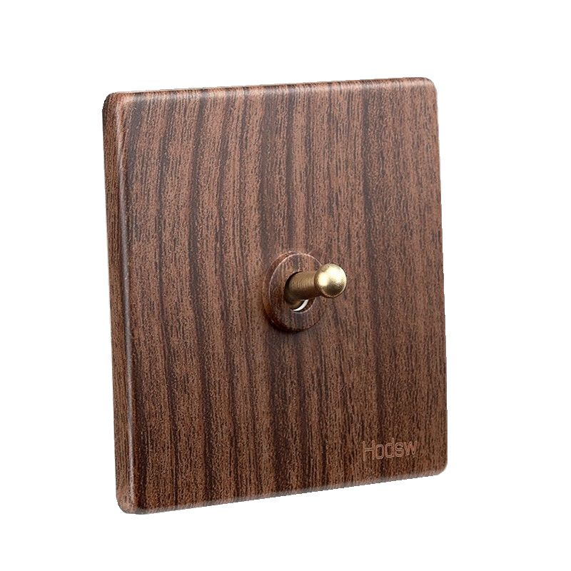 Antique Wall Switch 86 Type Retro Wood Color Toggle Switch 1 GANG/ 2 GANG/ 3 GANG/ 4 GANG 86*86mm