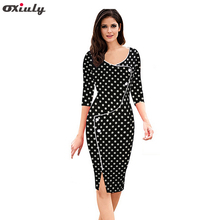 Oxiuly 2018 Fall Women's Polka Dot Split Bottom Bodycon Knee Length Office Work Sheath Vestido Feminino Casual Pencil Dress