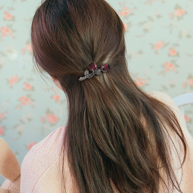 Rose Embellished Crystal Hair Clip