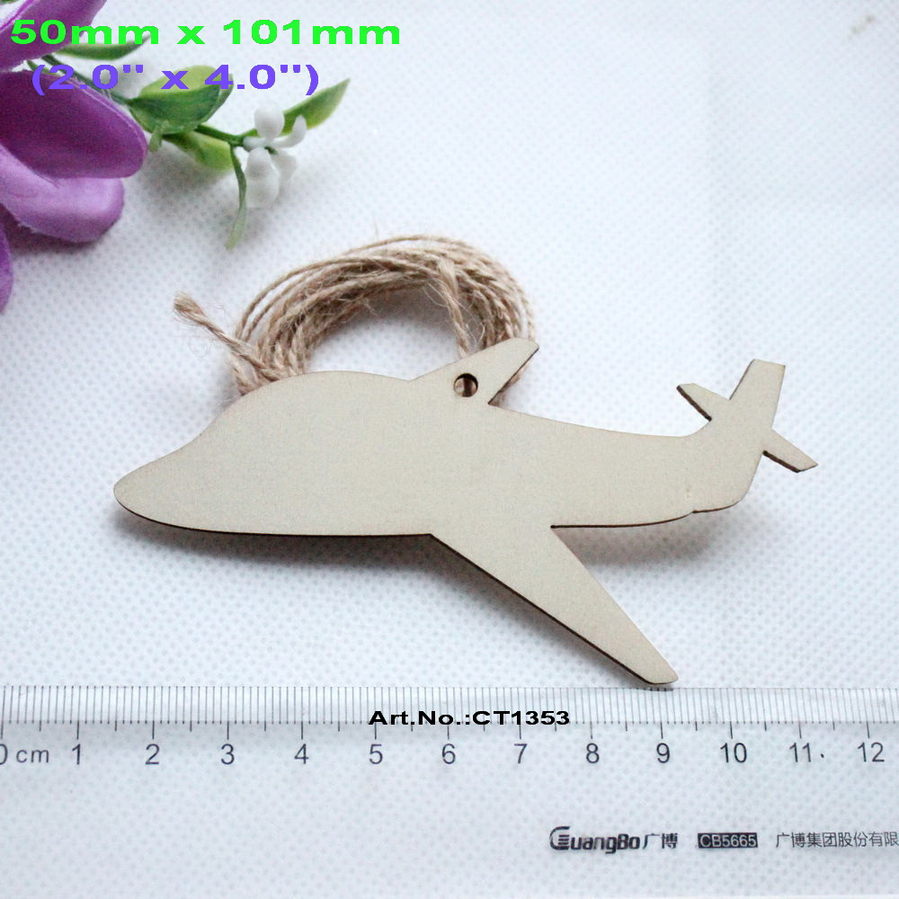 (10pcs/lot) 50mm x 101mm Unfinished Plain Wooden Airplane Tags Holiday Ornaments 4.0-CT1353 image