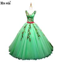 Quinceanera Dresses 2017 New Sexy V Neck Sweet Flower Appliques Ball Gown Candy Color Party Prom