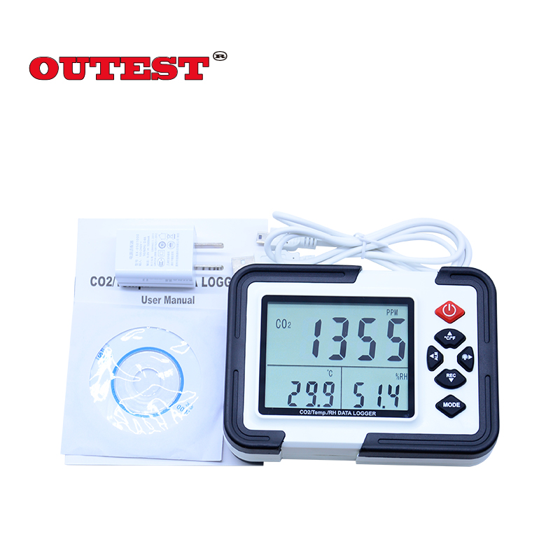 OUTEST Multi-function Digital CO2 Temp/RH/data logger Monitor Detector HT-2000 CO2 Gas Analyzer 9999ppm Relative Humidity Tester 9999ppm carbon dioxide co2 monitor detector air temperature humidity logger