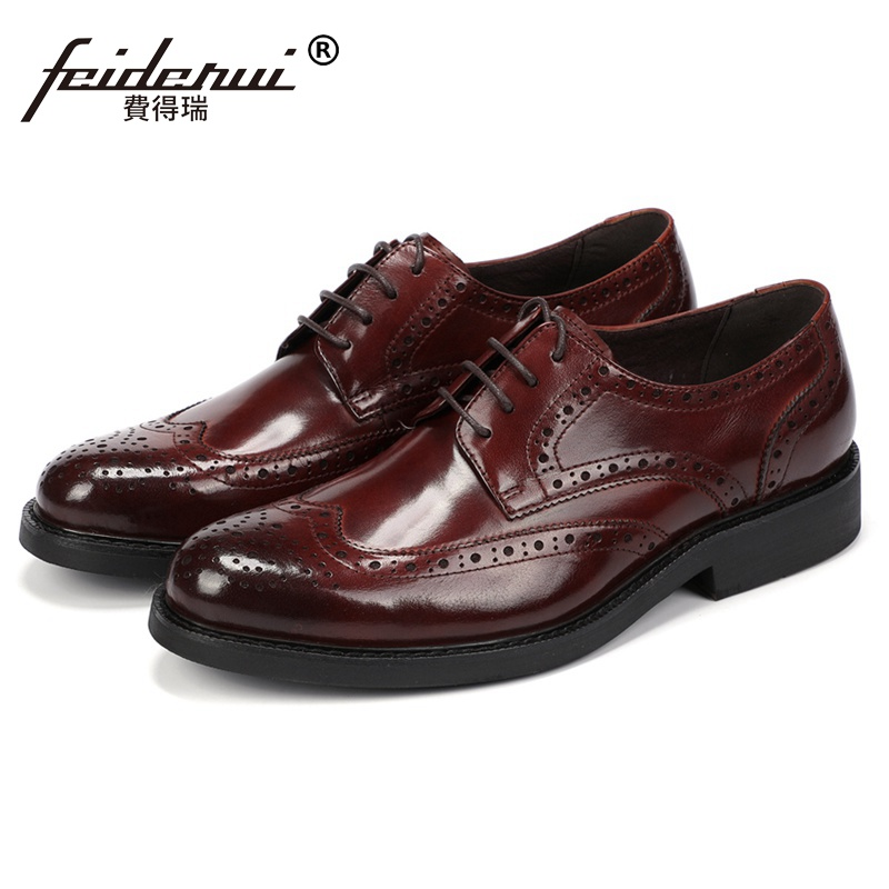New British Style Man Handmade Brogue Wedding Shoes Genuine Leather Carved Round Toe Mens Formal Dress Platform Footwear JS180New British Style Man Handmade Brogue Wedding Shoes Genuine Leather Carved Round Toe Mens Formal Dress Platform Footwear JS180