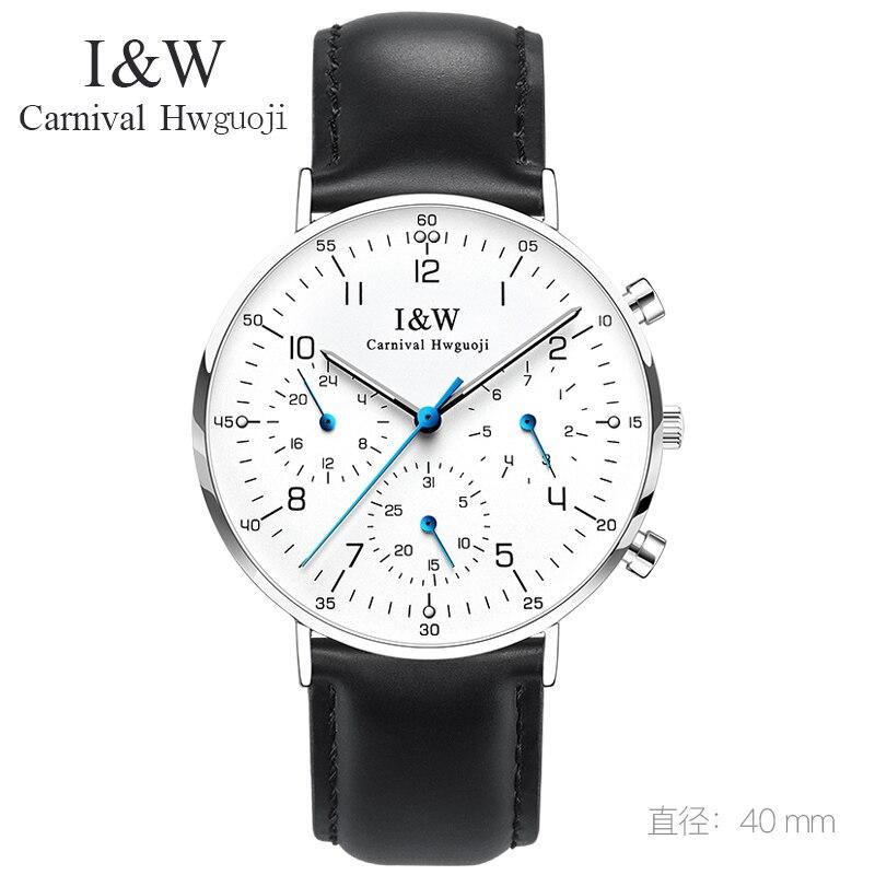 Carnaval Eenvoudige Quartz Horloge Mannen I & W Ultra Dunne 6mm Horloge Lederen Band Waterdicht Heren Horloges Nieuwe klok relogio masculino-in Quartz Horloges van Horloges op  Groep 1