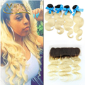 Ear To Ear 13X4 Lace Frontal With 4 Bundles T1B 613 Ombre Blonde Hair Body Wave 4 Bundles With 13*4 Lace Frontal Closure