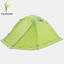 FLYTOP Hiking 2 Person Tents Outdoor Camping Aluminum Rod Double layer Rainproof 4 Season Tourist Tent Camping Equipment недорого