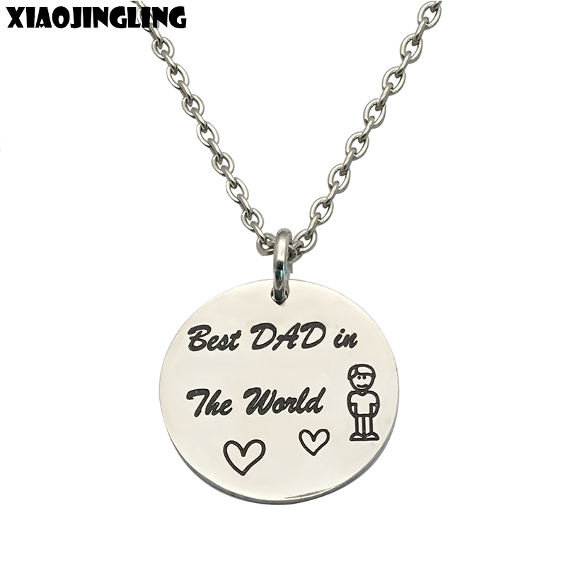 XIAOJINGLING Quality Stainless Steel Pendant Necklace Best Dad in the World Long Necklace Fathers Day/Birthday Gift Necklace