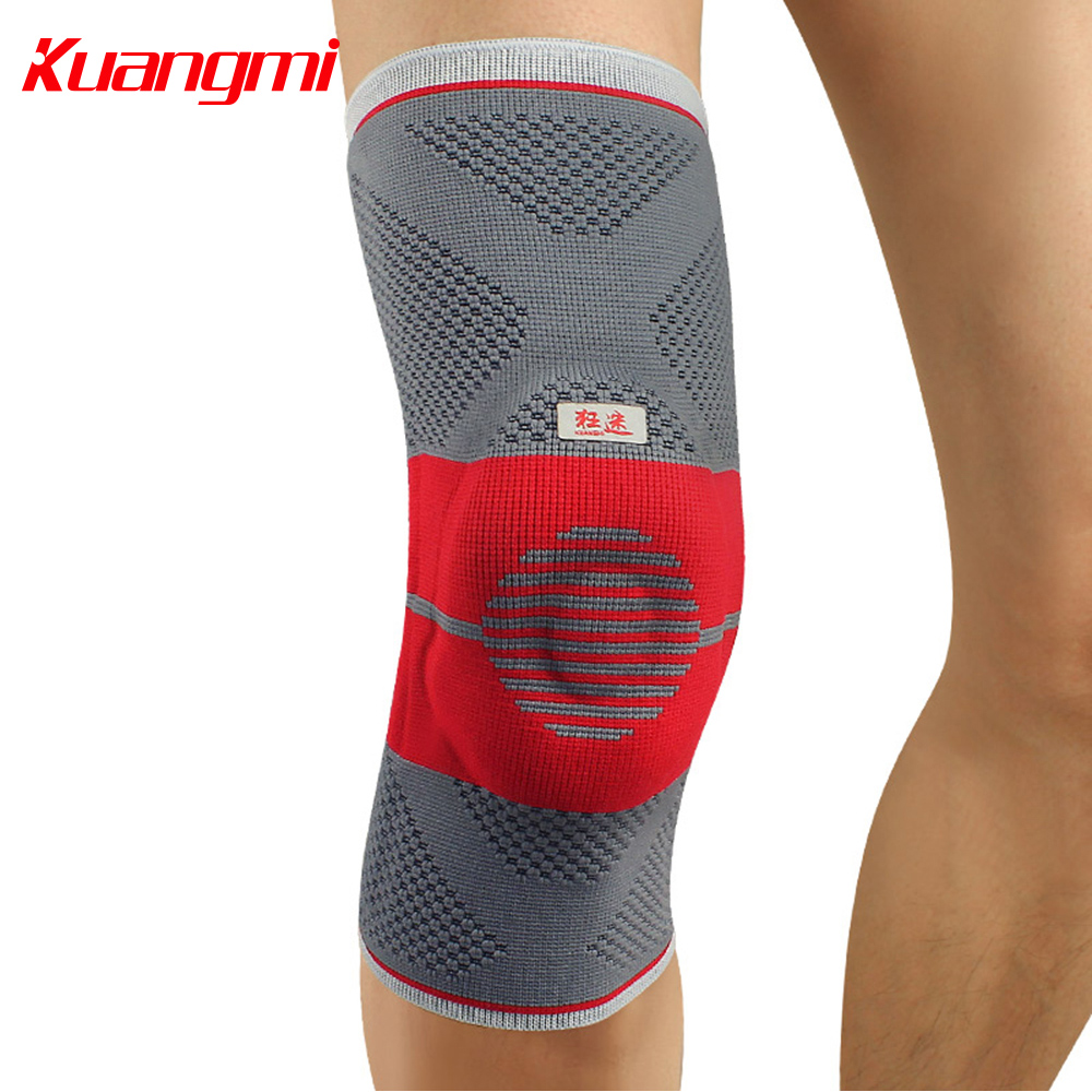 Kuangmi Silicone Pad Knee Pad Knee Brace Sports Compression Sleeve Support Knee Protector Leg Guard Running Joint Pain Relief