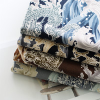Japan Style 100 Cotton DIY Fabric For Home Decor Covers Table Cloth Blue Color Dragon In